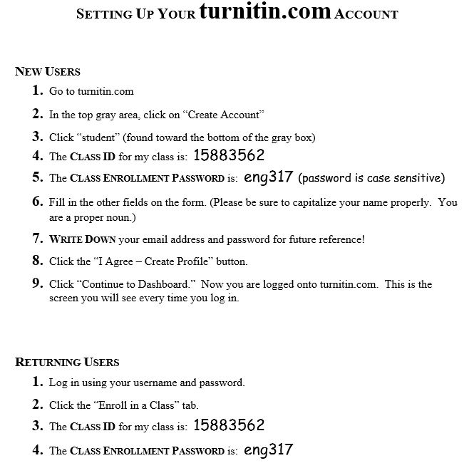 com when you finish typing your essay you will submit the final draft to turnitin com here are instructions for setting up your account and instructions for